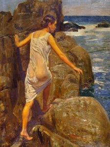 Mujer saliendo del mar - Benito Rebolledo